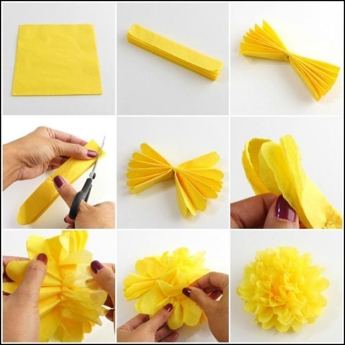 Инструкция в картинках по созданию помпона из крепированной бумаги