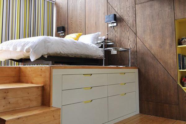 Высокая платформа для кровати - огромные возможности для хранения вещей