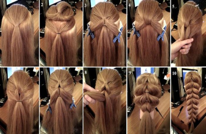 Хитрое плетение для обладательниц длинных волос.