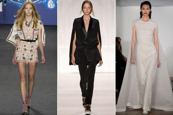 Накидка - тентенденции весна 2015, на фото модели Zac Posen, Noon be Noor и Anna Sui