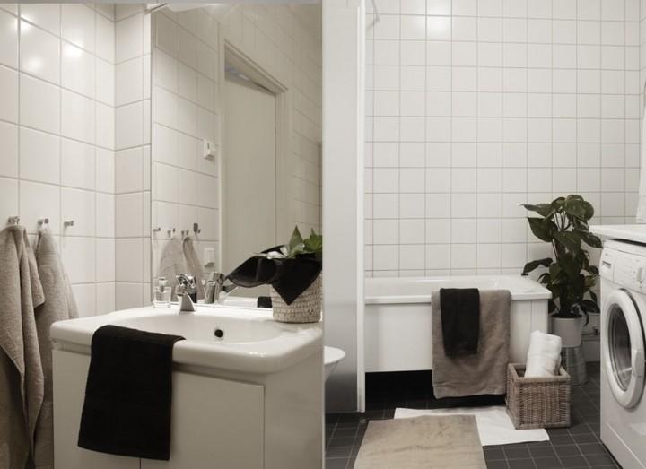 Ванная комната выложена светлой плиткой