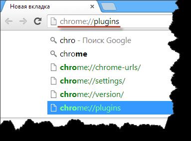 Плагины в браузере Google Chrome