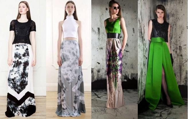 Летняя длинная юбка с разрезом