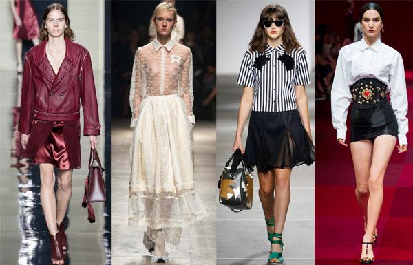 Многофактурные юбки весна-лето 2015