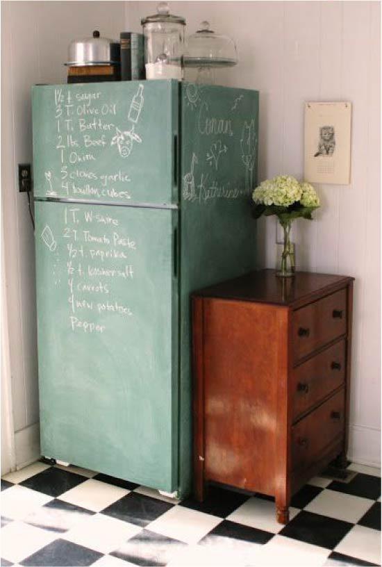 Холодильник, покрашенный грифельной краской