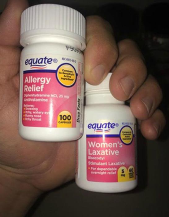 Таблетки от аллергии и слабительное.