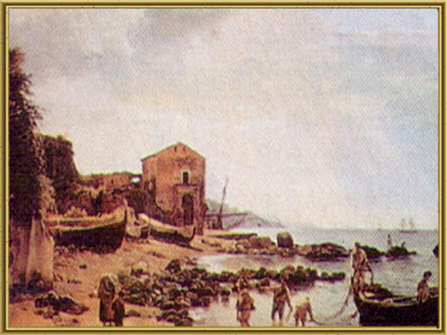 Берег в Сорренто с видом на остров Капри