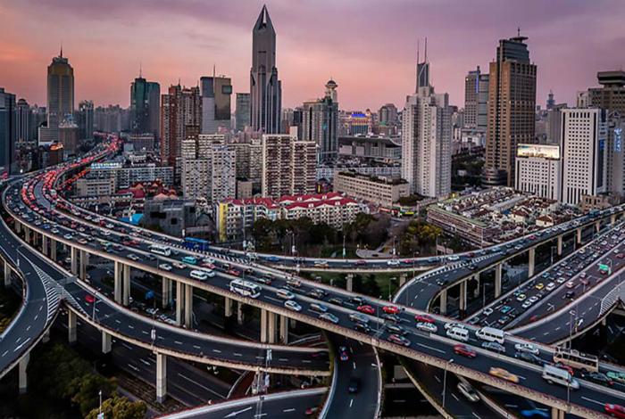 Шестиуровневневое шоссе в Шанхае.