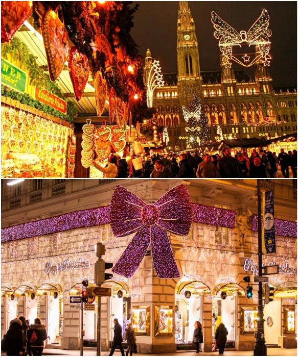 На 20 площадях Вены раскинулись Рождественские базары, и все улицы города утопают в праздничной иллюминации (Австрия).   Фото: venagid.ru /advent-club.ru.