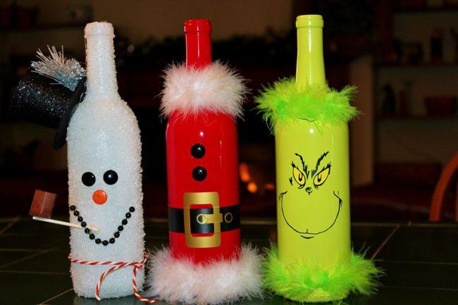 Яркий декор бутылок акриловыми красками