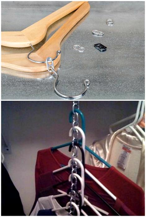 Вертикальное хранение одежды.