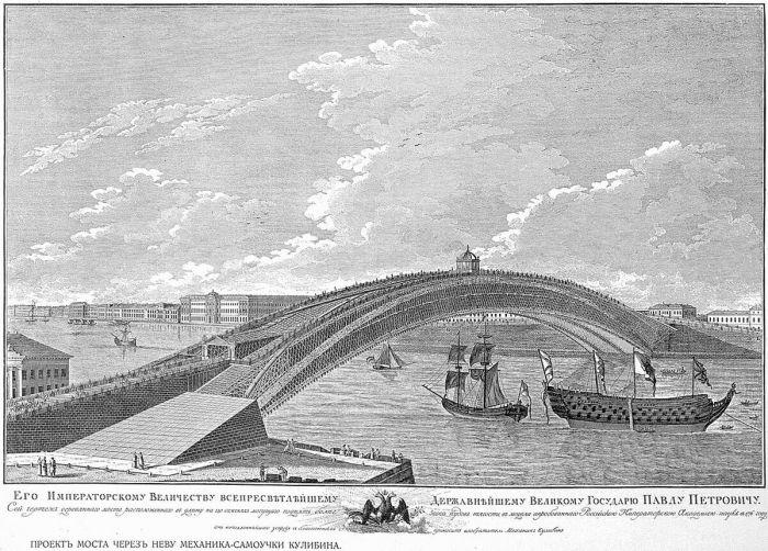 Проект моста через Неву Ивана Кулибина, 1776 год