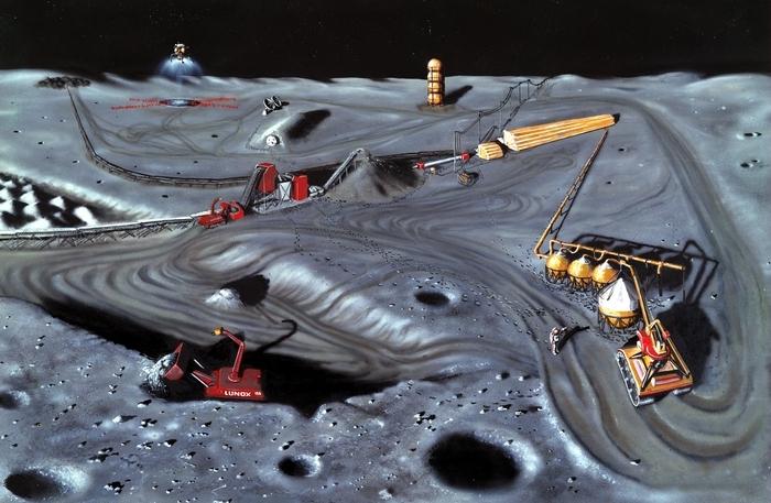Добыча гелия-3 на Луне.