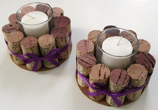 Пробки от вина в качестве подсвечника с ленточкой