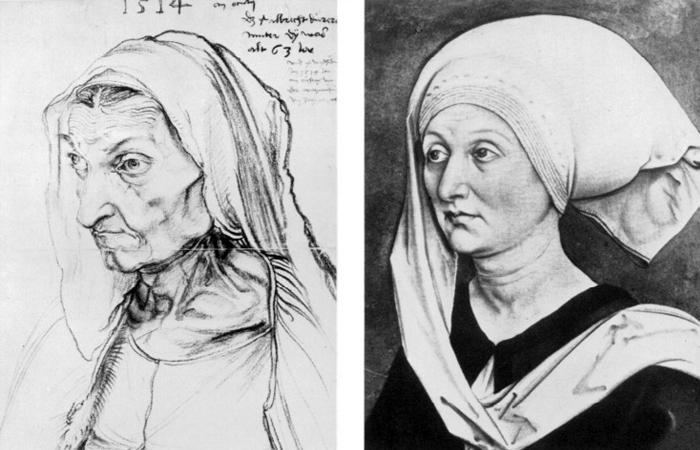 Портреты Барбары Дюрер 1514 года и 1490 года