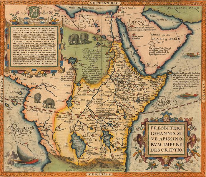 Древняя карта с изображением мифического христианского царства.