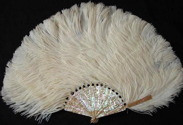 При изготовлении вееров использовали слоновую кость, различные породы древесины, дорогие ткани, перламутр, перья редких птиц