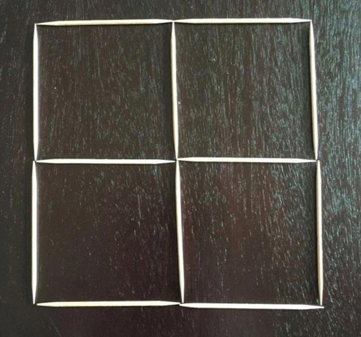 загадка с зубочистками, загадка превратить 4 квадрата в 3, загадка квадраты в 3 хода