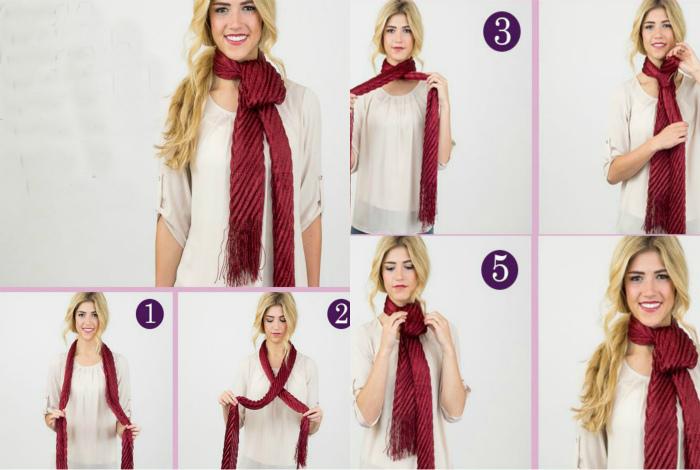 Длинный шарф с висящей петелькой.