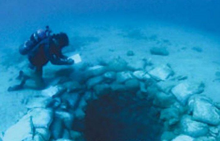 Sob a água: as ruínas de Atlit Yam.
