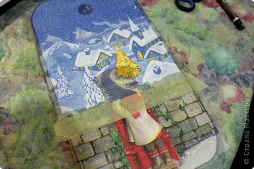 Декор предметов, Мастер-класс Декупаж: как соединить 2 салфетки м\к Салфетки Новый год. Фото 16