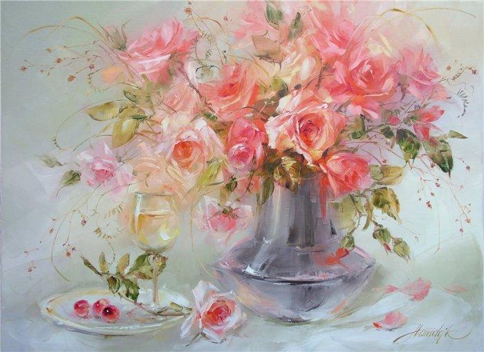 Розовый букет. Автор: Анна Хомчик.