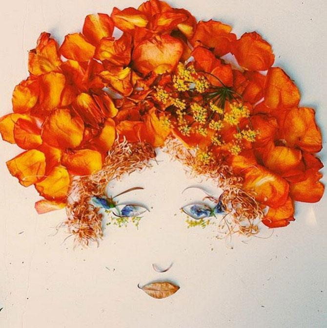 Невероятно нежные портреты, выполненные из цветов, ягод и растений
