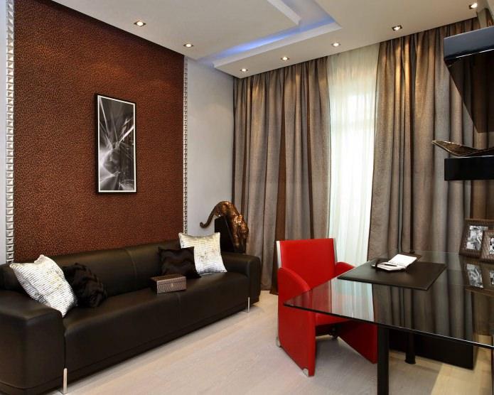 Красно-коричневый цвет в интерьере гостиной