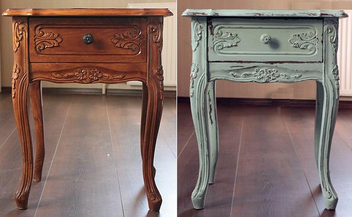 Прикроватный столик до и после реставрации. / Фото: gidpokraske.ru