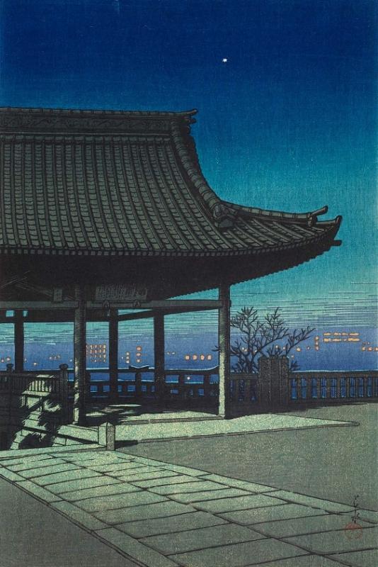 """Хасуи Кавасэ. """"Перспектива у реки с видом на  город Осака"""" 1924 г."""