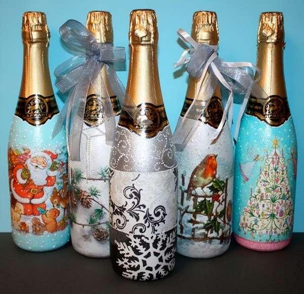 Декупаж и декор бутылки шампанского на Новый год