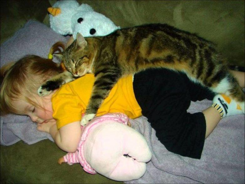 Прикольные картинки с детьми и кошками