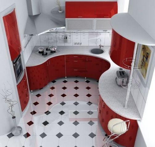 Кухня 5 кв м с угловой мойкой и варочной поверхностью в радиусном столе