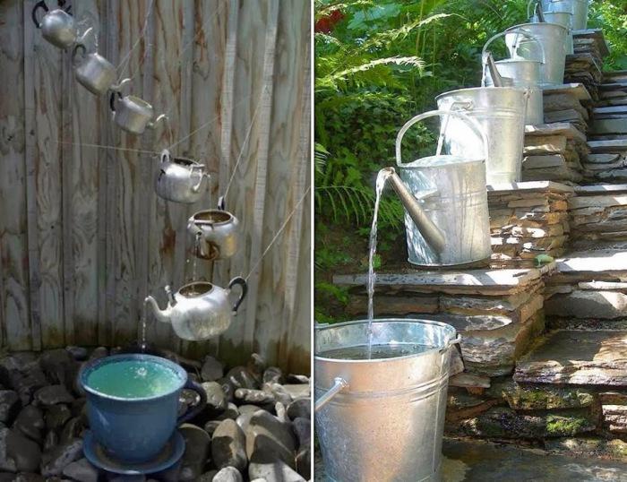 Фонтанчики для сада из старых чайников, леек и ведер.