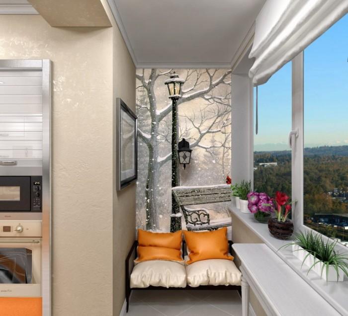 Комнатные растения для балкона должны быть яркими. Также стоит закрыть пол ковром со средним ворсом.