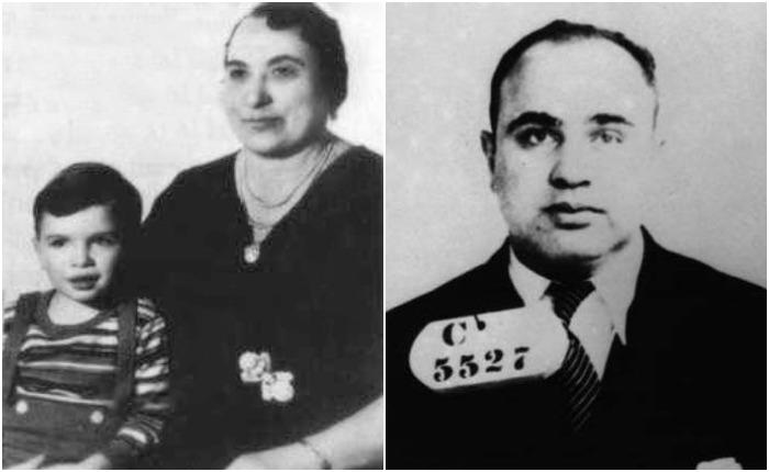 Аль Капоне в детстве с матерью и спустя годы - в заключении