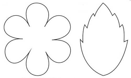 Шаблон цветка и листика