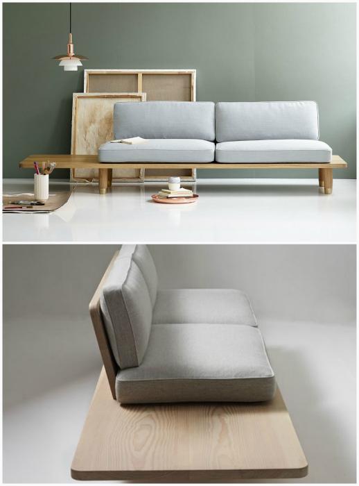 Элегантный диван из мебельных щитов.