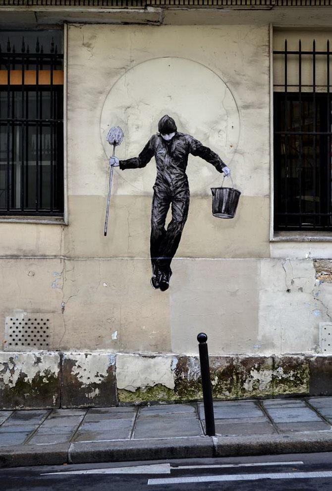 Уличный художник Чарльз Леваль