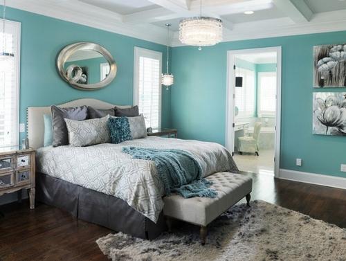 Сочетание мятного цвета в спальне фото