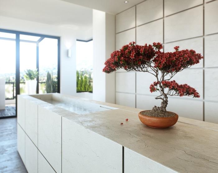 Искусственный бонсай, который станет настоящим украшением и придаст интерьеру кухни красоту и гармонию.