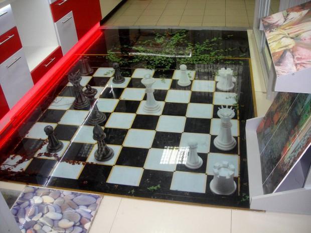 Наливной пол с шахматной доской