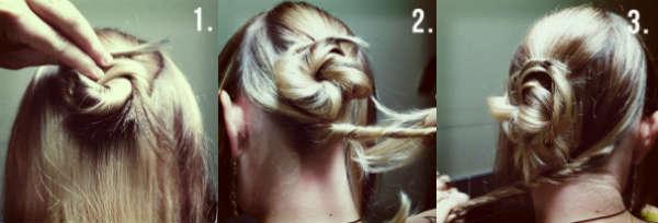Пучок на средние волосы в стиле кэжуал пошагово