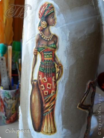 Добрый день, Страна Мастеров!!! Как и обещала, покажу некоторые промежуточные фотографии  процесса изготовления напольной вазы с африканскими мотивами. . Фото 13