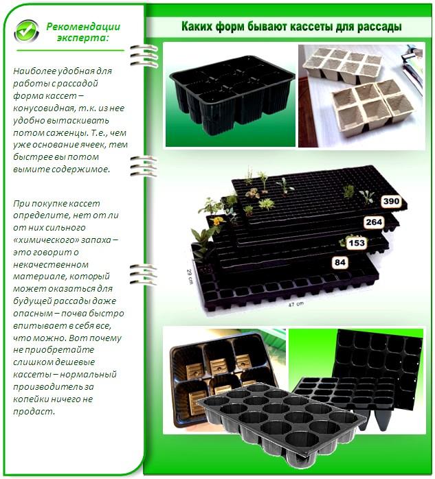 Формы рассадных пластиковых кассет