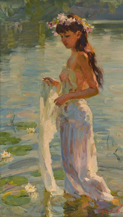Прогулка по воде, Владимир ГуÑев- Ð¶Ð°Ð½Ñ€Ð¾Ð²Ð°Ñ ÐºÐ°Ñ€Ñ'ина, девушка, летний день, прогулка по реке