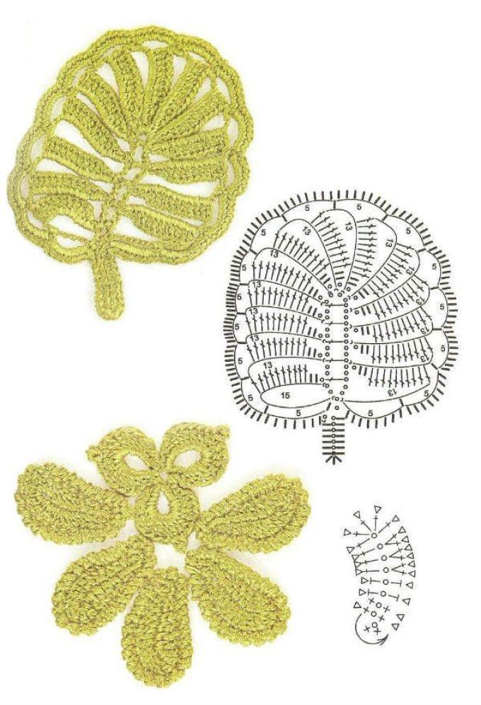 Схемы простых элементаов ирландского кружева крючком, пример 12