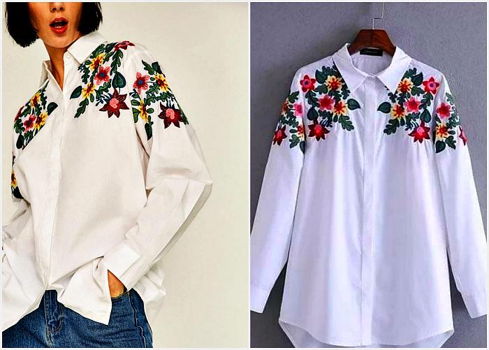 Рубашки с цветочной вышивкой.