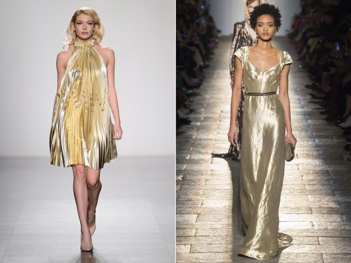 Блистайте в платьях золотистых цветов и оттенков.