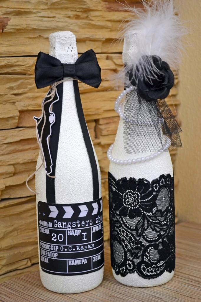 Необычные бутылки по технике декупаж в стиле жениха и невесты